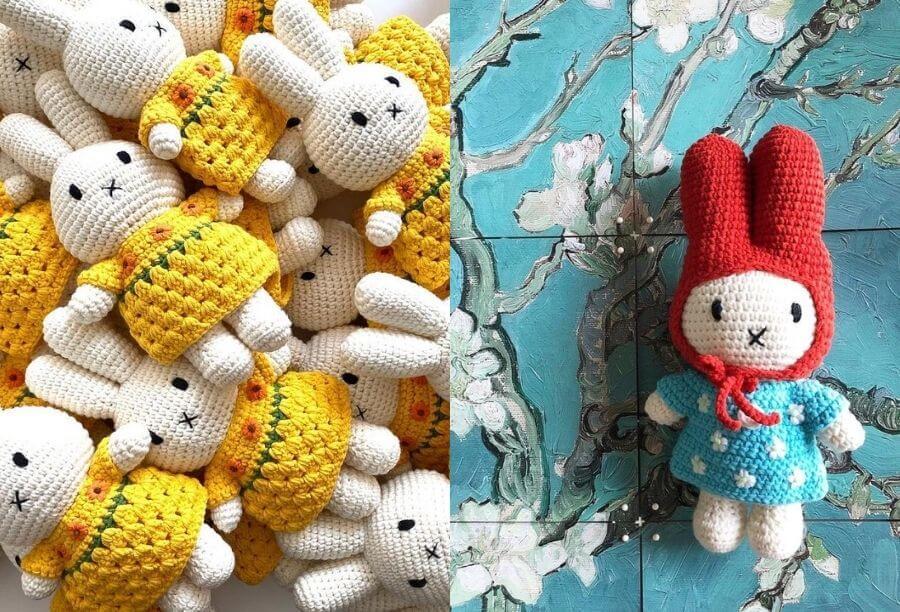 誠品獨家JUST DUTCH 手工編織米菲兔玩偶