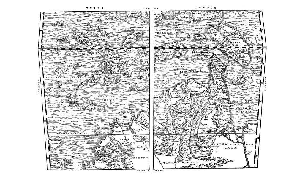 賈卡莫.迦斯卡爾迪(Giacomo Gastaldi)製作的地圖