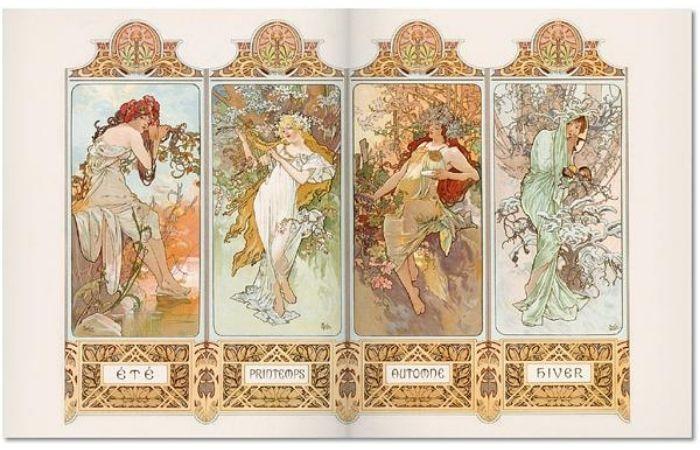 《Mucha》其中內頁,以四季為主題,將女性與花草藤蔓結合的四聯作