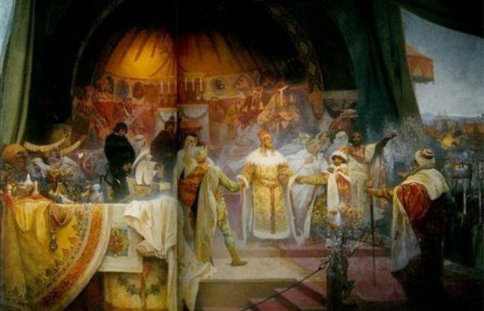《ミュシャ展》其中內頁,慕夏所繪製的《斯拉夫史詩》其中一幅