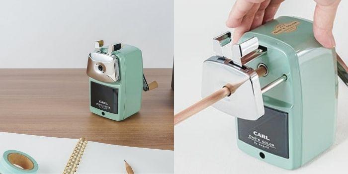 CARL浅绿色铁制可调式铅笔机/ 日本制