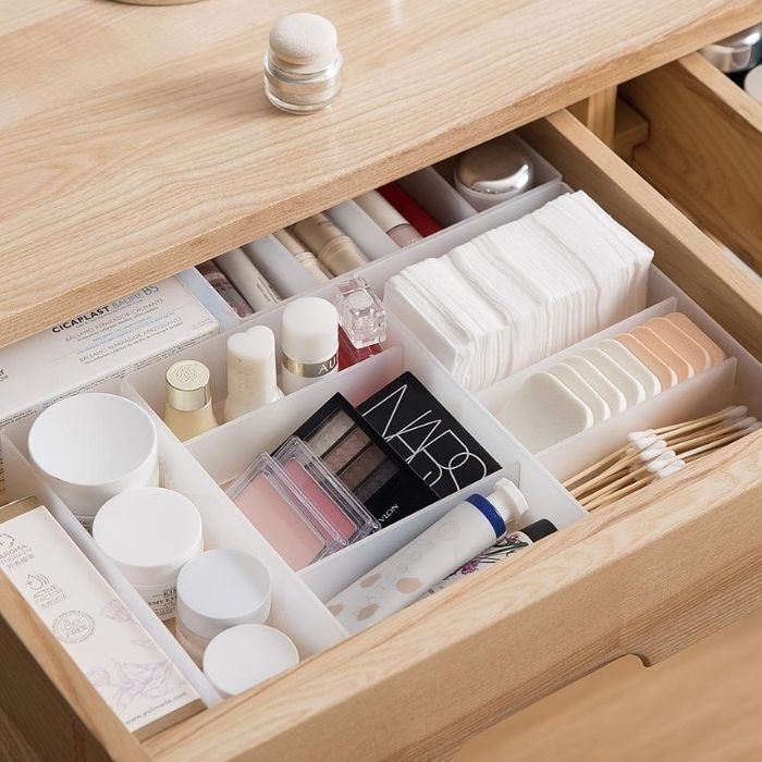 可疊分隔式桌面抽屜霧透PP收納盒